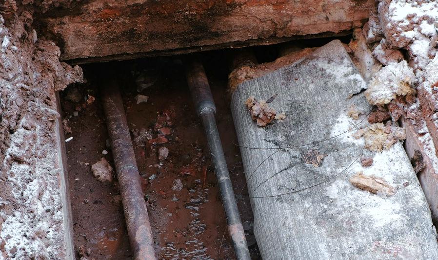 A before image of slab leak repair in Tulsa, OK